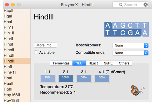 EnzymeX: To cut, or not to cut. The DNA sequence editor for OS X